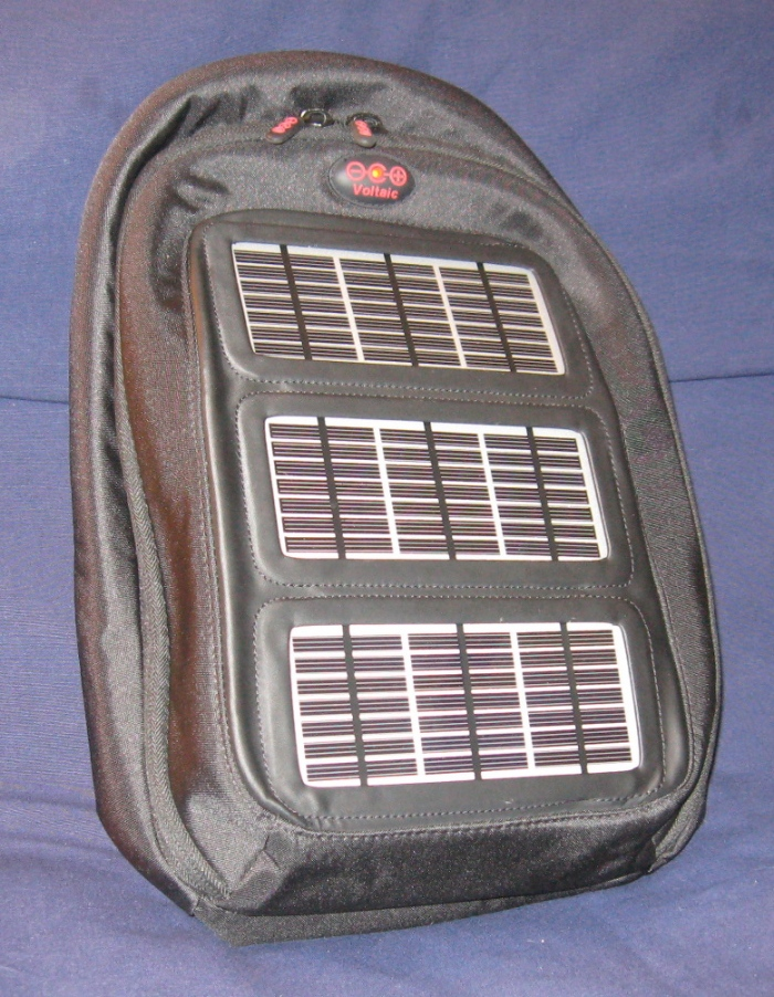 Voltaic solar battery-charging backpack